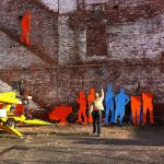 Installation of Silhouettes on November 2012 in the Lyman Warehouse District. Frank Sleegers does the installation as a product of the experimental art studio to bring more attention to this underutilized area.